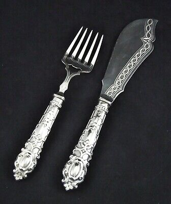 Ornate Stunning Pair Regal Style Cross Embossed Silver Plated Fish Servers