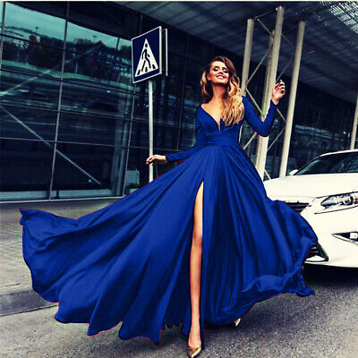 Women Maxi Dress Long Sleeve Slit V-Neck Backless Party Evening  Party Ball Gown