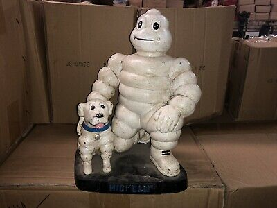 Cast Iron Michelin Man And Michelin Dog Vintage Heavy Iron  - Painted