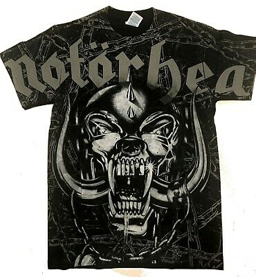 MOTORHEAD cd lgo England DOG SKULL & CHAINS Official ALL OVER SHIRT SMALL OOP