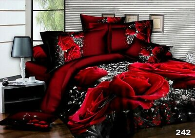 4 PCs Bedding 3D Duvet Set With Quilt Cover & Fitted Sheet Single Double King