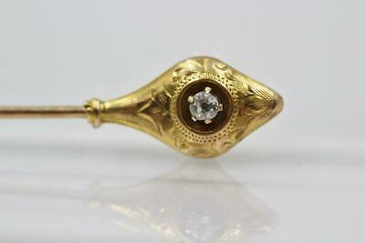Antique Victorian 14K Yellow Gold Mine Cut Diamond Fancy Engraved Stick Pin