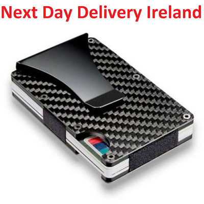 Carbon Fiber Credit Card Holder RFID Blocking Metal Money Clip Wallet Purse