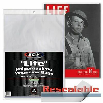 1 Pack of 100 BCW Brand Resealable Life Magazine Storage Poly Bags Sleeves