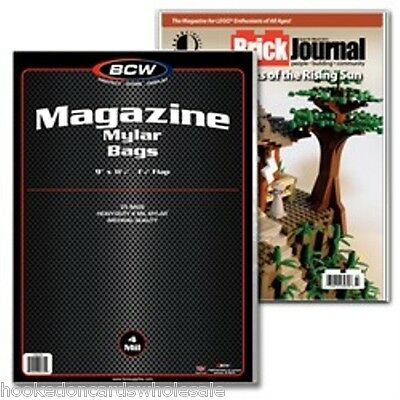 "1 Pack (25) BCW 9"" x 11 1/2"" Mylar Magazine Storage Bags Holder Sleeve 4 mil"