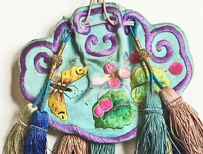 Antique Chinese Embroidered Silk Scent Pouch Purse Bag Light Blue w Butterflies