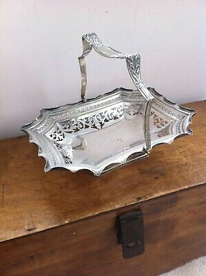 NICE QUALITY VINTAGE SILVER PLATED PIERCED SHAPED  DISH 11 by 9 inches