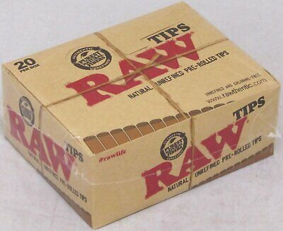 RAW Tips Natural Unrefined Pre-Rolled Tips (FULL-BOX)  20 Packs 420 Tips Total