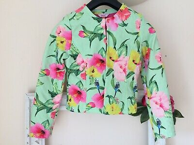 Beautiful girls Ted Baker green floral budge bird jacket  age 12-13 VGC