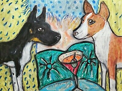 RAT TERRIER Drinking a Martini Dog Pop Vintage Art 8 x 10 Signed Giclee Print