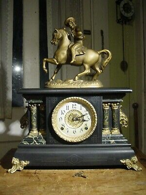 "Antique E. Ingraham 1905 ""Adrian"" Horse & Rider Statue Four Column Mantel Clock"