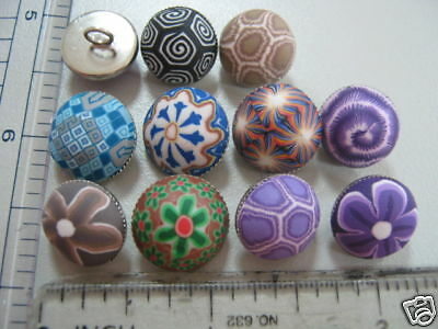 craft button sew on 1pc Handmade Poly Button with Metal Base Half Dome//Shank