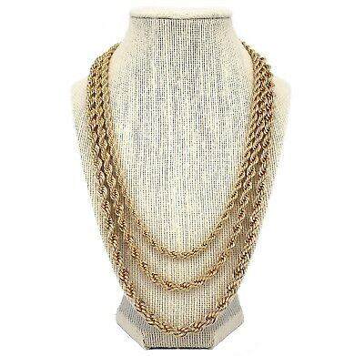 "Men's Rope Chain Necklace 5mm 6mm 7mm 14k Gold Plated 20"", 24"", 30"" inch"