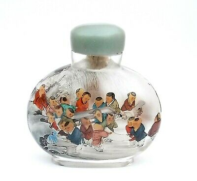 Vintage Chinese Snuff or Perfume Bottle - Glass with Colourful Characters