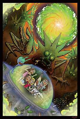 V722 Art Fabric Print Poster Rick and Morty Cartoon Anime Trippy 24x36 12x18in