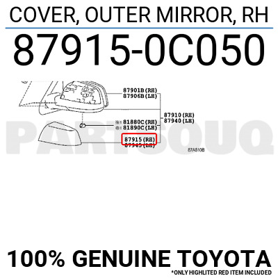 Genuine Toyota 87940-0C050-A0 Rear View Mirror Assembly