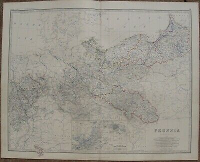 1861 Large Antique A.K.Johnston Map - PRUSSIA - Inset Map of Berlin & Potsdam