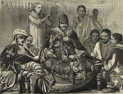 1884 Antique Engravings - KING JOHN OF ABYSSINIA (Ethiopia) - Capital of Adowa