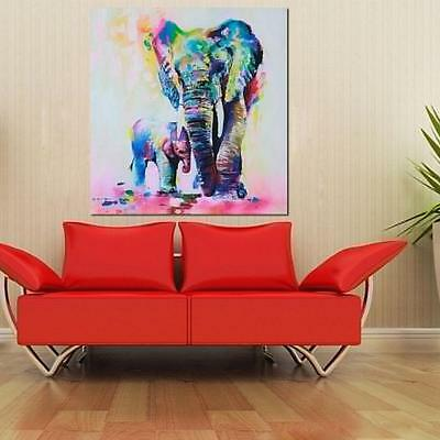 Modern Hand-painted Elephant Canvas Wall Art Abstract Oil Painting Wall Decor HO