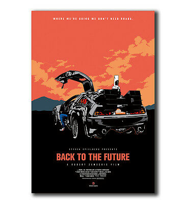 V737Art Fabric Print Poster Back To The Future De Lorean film decor24x36 21x14in