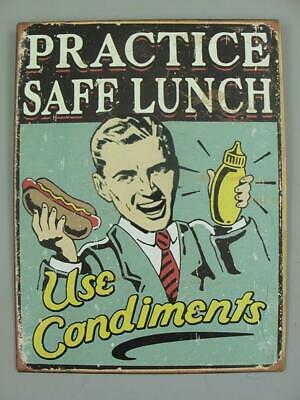 Metal Sign,Advertisement Sign Practice Safe Lunch, Pubs Wall Sign 13x9 13/16in