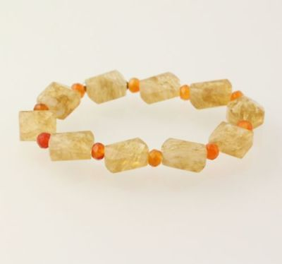 New Beaded Bracelet - Orange Agate & Glass Beads Stretch Band Silver Accents