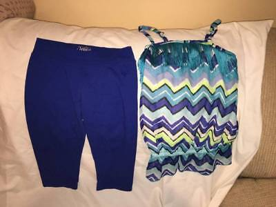 Justice Girls Size 10 Royal Blue Cropped Leggings / Tank Top Outfit - Cute Style