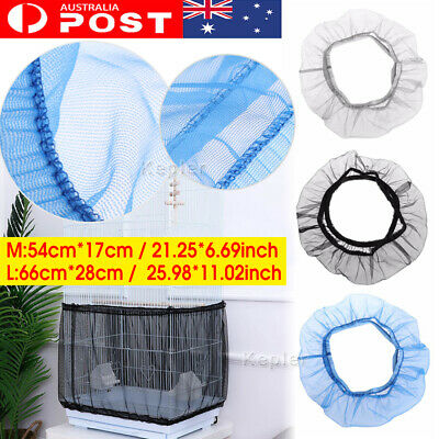 Nylon Mesh Pet Bird Cage Seed Catcher Tidy Guard Cover Shell Skirt Net Basket