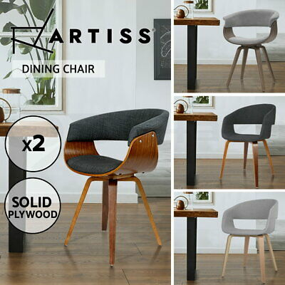 Artiss Dining Chairs Kitchen Chair Bentwood Timber Fabric Seat Cafe 2/4/6/8x