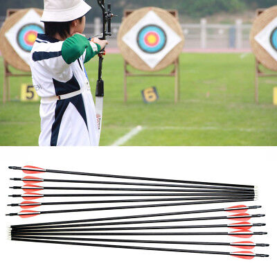 "12pcs 30"" Hunting Archery Fiberglass Crossbow Arrows Feathers for Recurve bow"