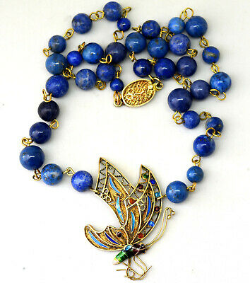 Vintage Chinese Silver and Natural Lapis Lazuli Beads Butterfly Necklace