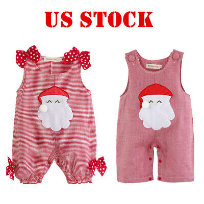 Infant Baby Boy Girl Cute Romper Jumpsuit Christmas Santa Clause Costume Outfit