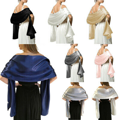 Soft Silky Satin Scarf Shawl Stole Ladies Gifts Bridal Bridesmaid Party 45x175cm