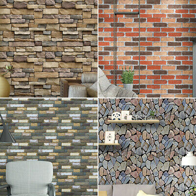 3D Wall Paper Brick Stone Rustic Self-adhesive Wall Sticker Home Decor Safety