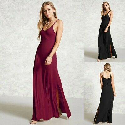 Womens Long Lace  Casual Sleeveless V Neck Solid Formal Evening Party Maxi Dress