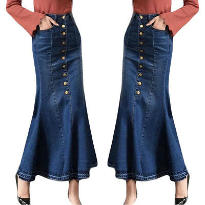 Womens Fashion Long High Waist Button Pocket Front Fishtail Denim Maxi Skirts