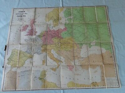 """Large Antique vintage German cloth steamship route map Europe edited 38"""" x 31"""""""