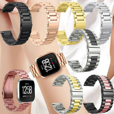 New Stainless Steel Metal Link Wrist Band Bracelet For Fitbit Versa Smart Watch