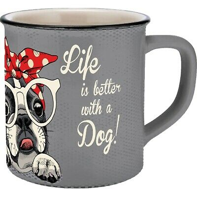 Tasse Vintage Bulldogge Emaille-Optik 40