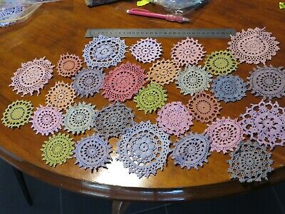 28 Crochet motifs mini doilies 6-9 cm  vintage colors