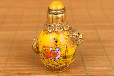 rare Chinese rare Old glaze hand painting belle dragon art statue snuff bottle