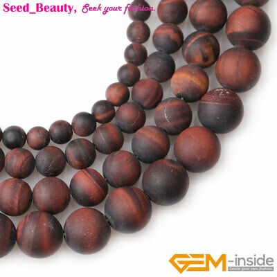 Natural Round Frosted Matte Red Tiger Eye Beads For Jewelry Making Strand 15""