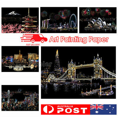 AU Magic Scratch Art Painting Paper With Wooden Drawing Stick Kid Adult DIY KIT