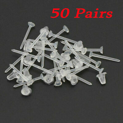 50Pairs Clear Plastic Earrings Transparent Invisible Retainer Stud Jewellery UK