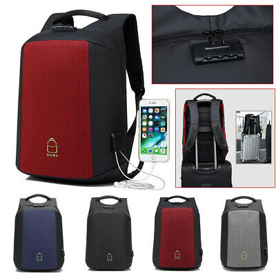 15.6 Inch Anti- theft Lock Men Laptop Backpack USB Charging School Travel Bag