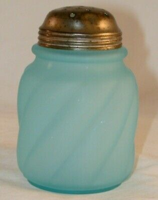 Antique Frosted Blue Blown Glass Muffineer Sugar Shaker