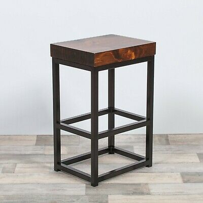 Industrial Metal Black Bar Stool Chunky Rectangle Wooden Top Kitchen Side Table