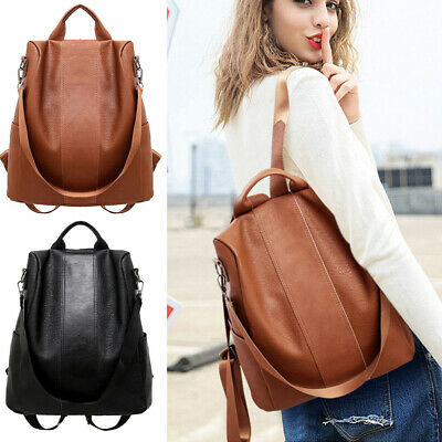 AU Women Leather Backpack Anti-Theft Rucksack School Shoulder Bag Black/Brown