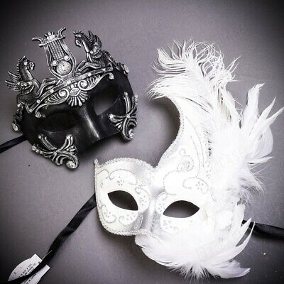 Fancy Venetian Feather Masquerade Couple Masks Costume Party Prom Masks Silver
