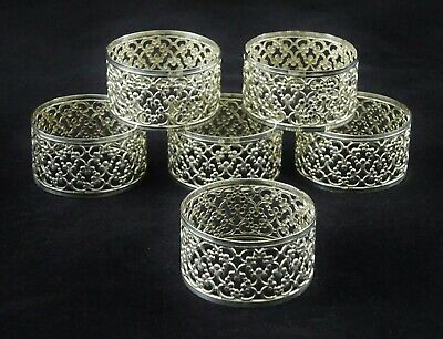 6 Vintage Napkin Rings Silver Plated Ornate Scrolling Pierced Surround Dining